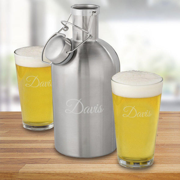 65 oz. Stainless Steel Personalized Growler Set with 2 Pub Glasses - Script - JDS
