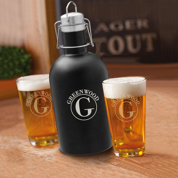 64 oz. Personalized Growler Set in Black with 2 Pub Glasses - Circle - JDS