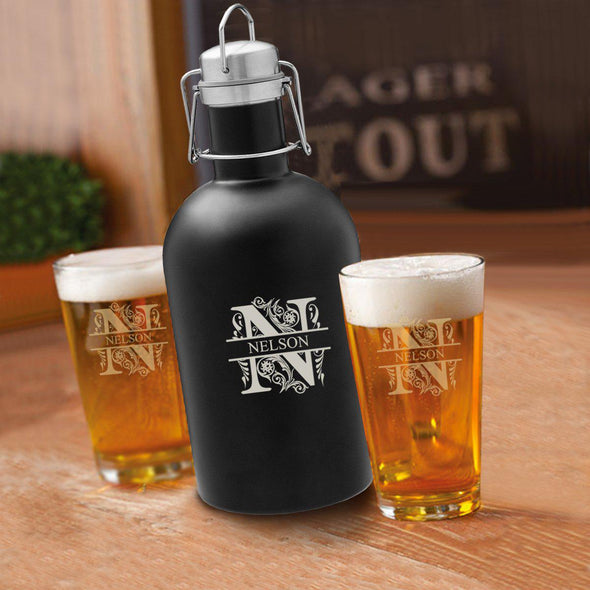 64 oz. Personalized Growler Set in Black with 2 Pub Glasses - Filigree - JDS