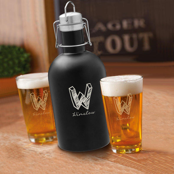 64 oz. Personalized Growler Set in Black with 2 Pub Glasses - Kate - JDS