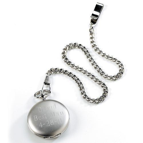 Personalized Silver Brushed Pocket Watch -  - JDS