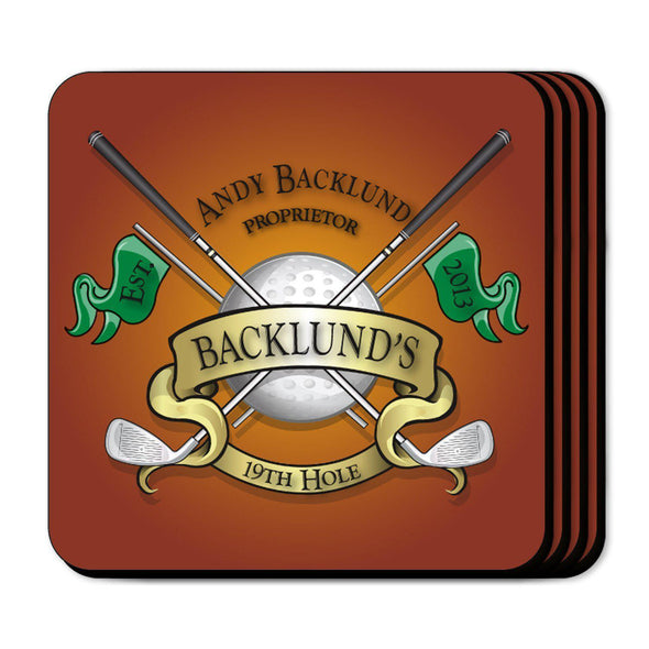 Personalized Coaster Set - 19thHole - JDS