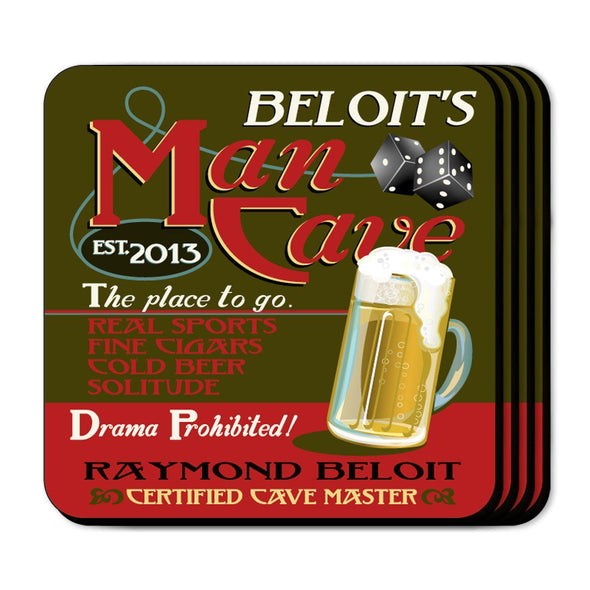 Personalized Coaster Set - ManCave - JDS