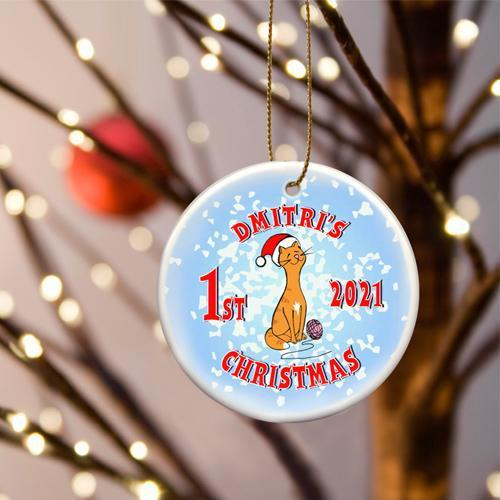 Personalized Merry Christmas Ceramic Ornament - KittyBlue - JDS