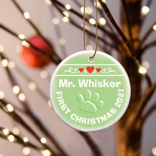 Personalized Merry Christmas Ceramic Ornament - KittyGreen - JDS