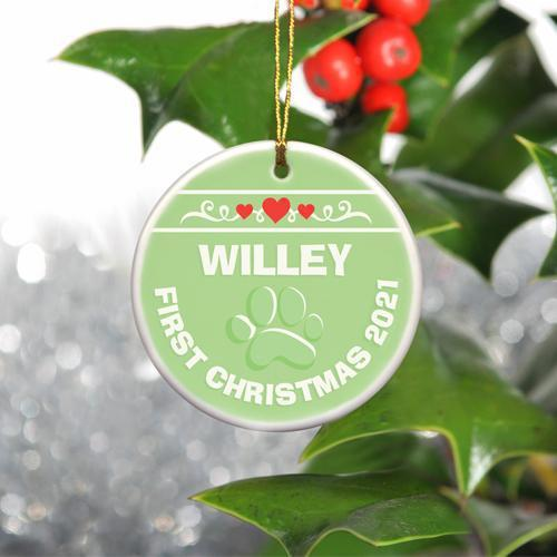 Personalized Merry Christmas Ceramic Ornament - PuppyGreen - JDS