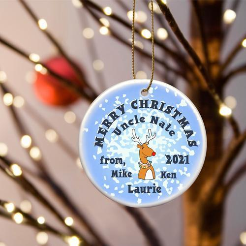 Personalized Merry Christmas Ceramic Ornament - ReindeerSnow - JDS