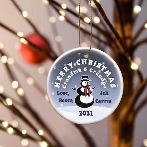 Personalized Merry Christmas Ceramic Ornament - Snowman - JDS