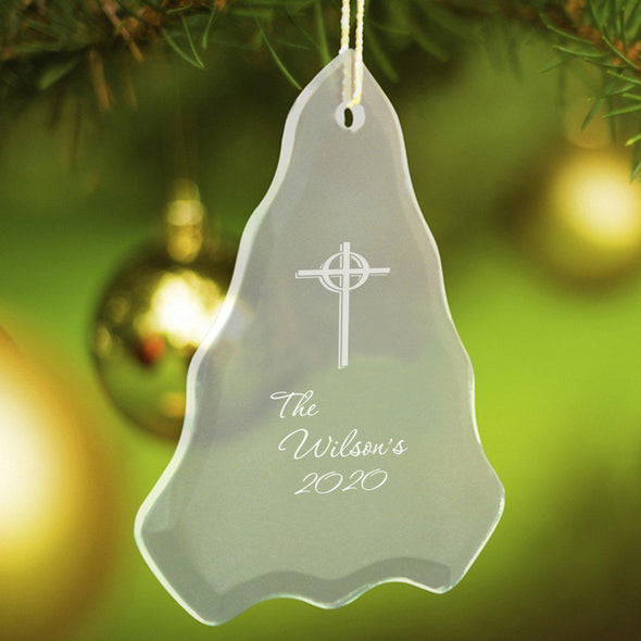 Personalized Tree Shaped Glass Ornaments - Christmas Ornaments - Cross - JDS