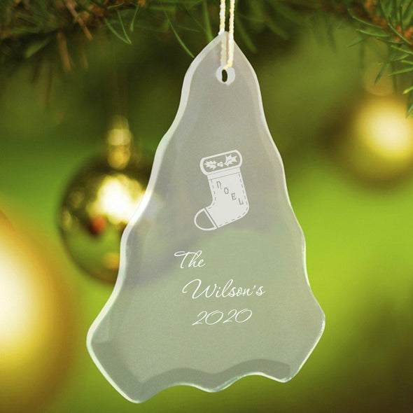 Personalized Tree Shaped Glass Ornaments - Christmas Ornaments - Stocking - JDS
