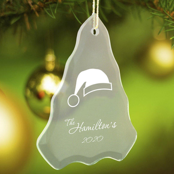 Personalized Tree Shaped Glass Ornaments - Christmas Ornaments - SantaHat - JDS