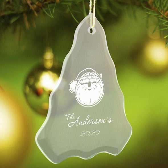 Personalized Tree Shaped Glass Ornaments - Christmas Ornaments - SantaFace - JDS