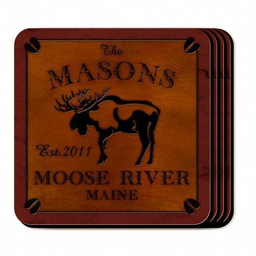 Custom Cabin Series Coasters - Coaster Set 9 Designs - Moose - JDS