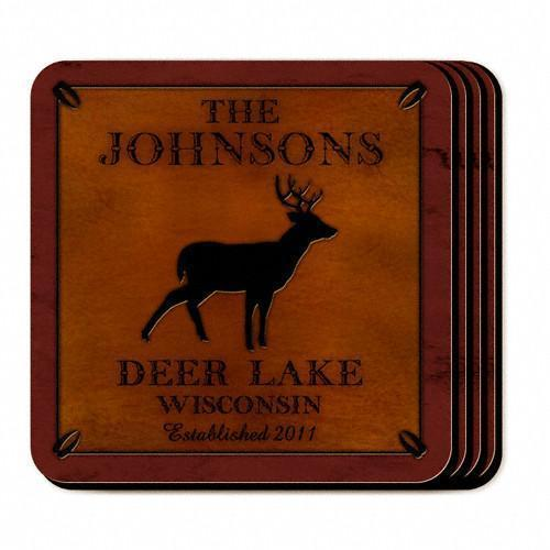 Custom Cabin Series Coasters - Coaster Set 9 Designs - Stag - JDS