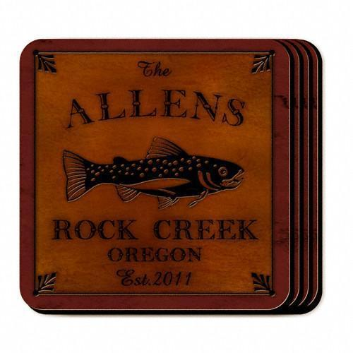 Custom Cabin Series Coasters - Coaster Set 9 Designs - Trout - JDS