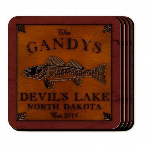 Custom Cabin Series Coasters - Coaster Set 9 Designs - Walleye - JDS