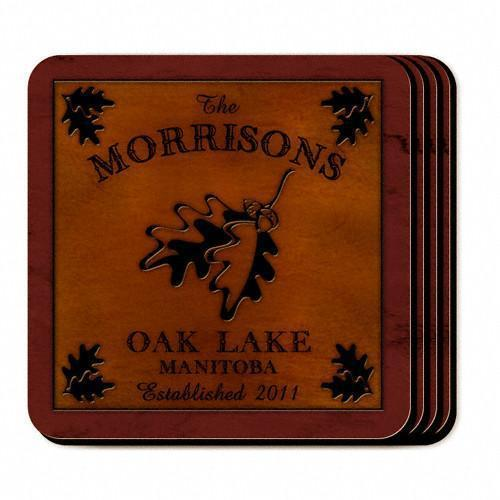Custom Cabin Series Coasters - Coaster Set 9 Designs - Oak - JDS