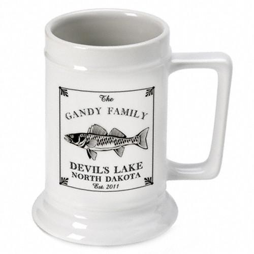 Personalized Lake House - Cabin Beer Mugs and Steins - Walleye - JDS