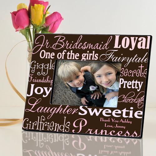 Personalized Junior Bridesmaid Picture Frame - PinkBrown - JDS