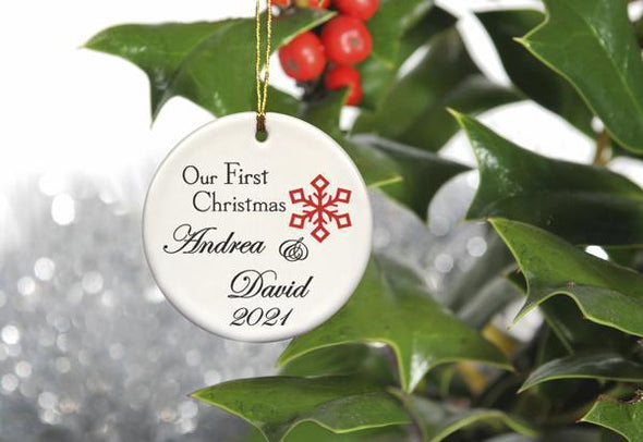 Our First Christmas Personalized Ceramic Ornament for Couples - Red1 - JDS
