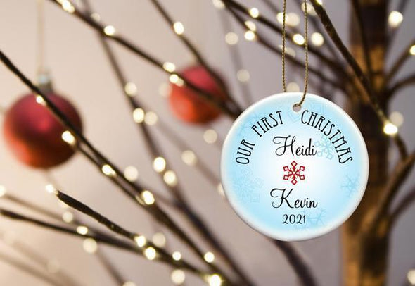 Our First Christmas Personalized Ceramic Ornament for Couples - BlueRed - JDS