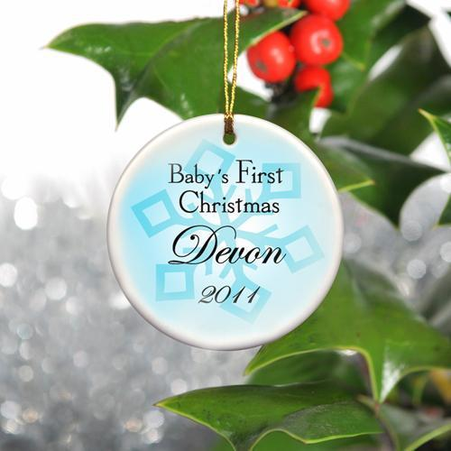 Personalized Baby Boy's First Christmas Ceramic Ornament - Baby1 - JDS