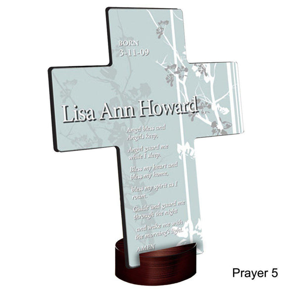 Personalized Faith and Flowers Cross with Stand - Prayer5 - JDS