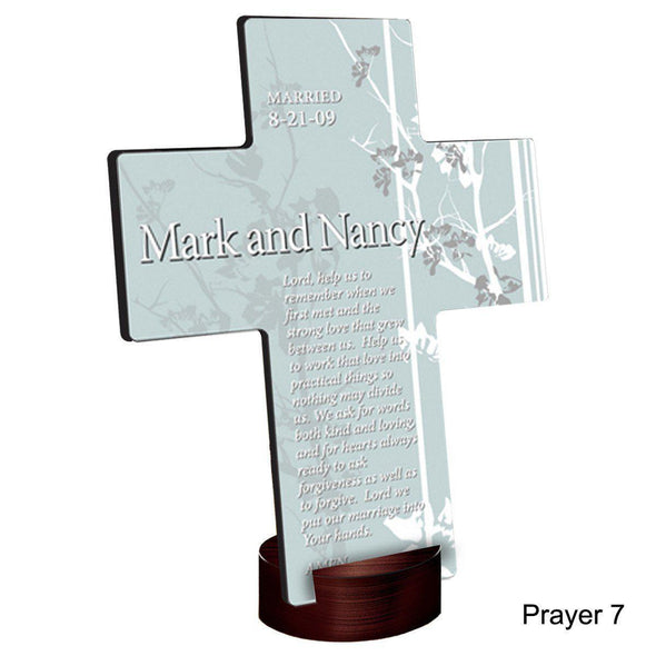 Personalized Faith and Flowers Cross with Stand - Prayer7 - JDS