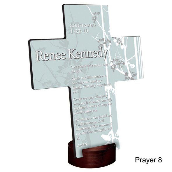 Personalized Faith and Flowers Cross with Stand - Prayer8 - JDS