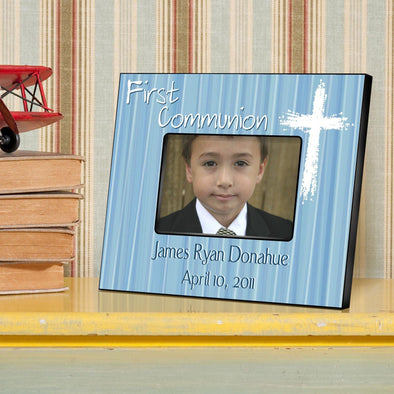 Personalized First Communion Picture Frame-Light of God - Blue - JDS