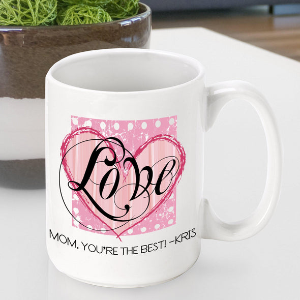 Personalized Mother's Day Coffee Mug - Hearts - JDS