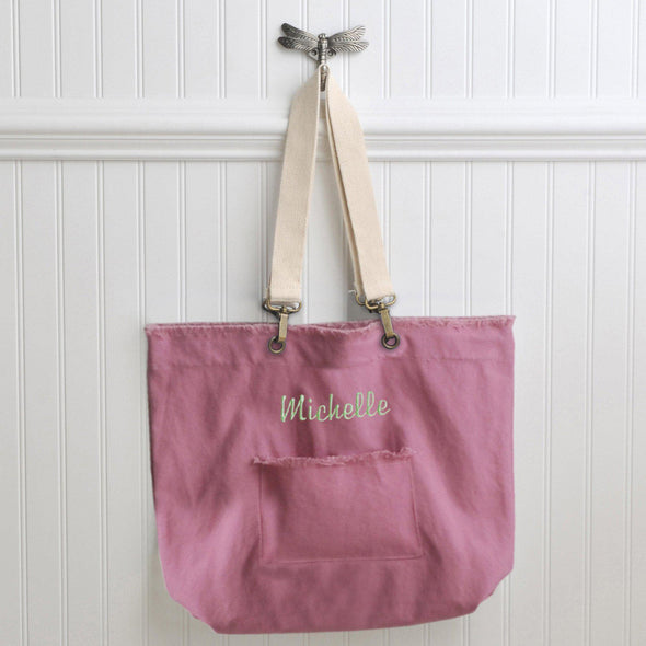 Personalized Canvas Tote Bags - 4 Colors - Pink - JDS