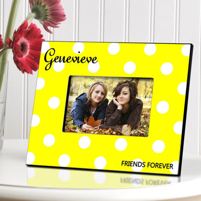Personalized Polka Dot Picture Frame - All - Yellow - JDS