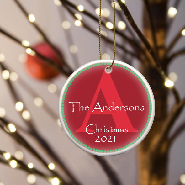 Personalized Ceramic Ornaments - Christmas Ornaments - Red - JDS