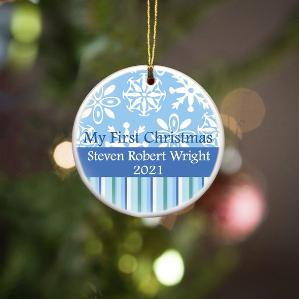 Personalized My First Christmas Ornament - Christmas Ornament - Pink - JDS