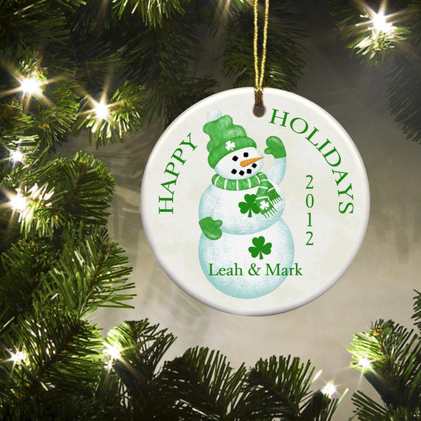 Personalized Irish Ceramic Ornaments - LuckSnowman - JDS
