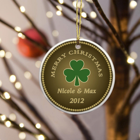 Personalized Irish Ceramic Ornaments - StoutShamrock - JDS