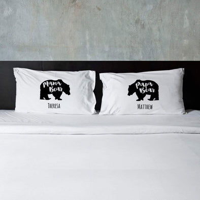 Personalized Mama Bear & Papa Bear Couples Pillow Case Set -  - JDS