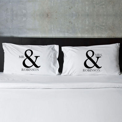 Personalized Mr & Mrs Couples Pillow Case Set -  - JDS