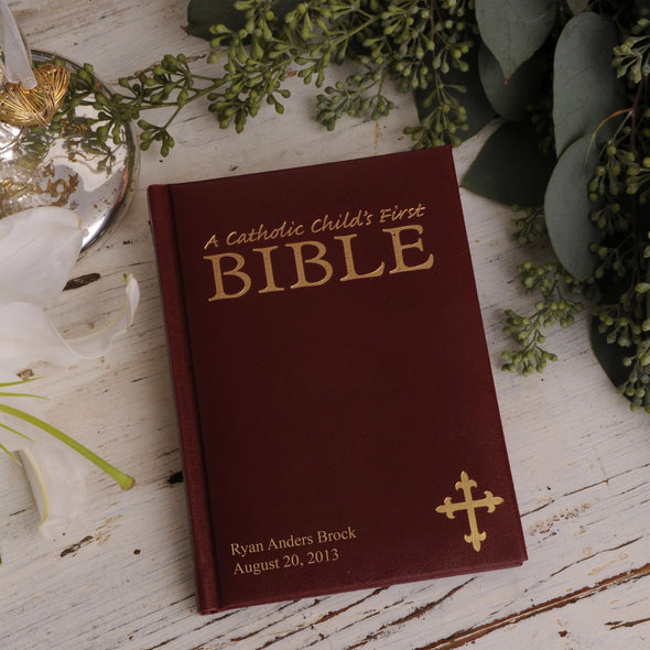Personalized Bible - Catholic Children's Bible - Burgundy -  - JDS