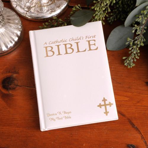 Personalized Illustrated Children's First Bible - Catholic - White - JDS
