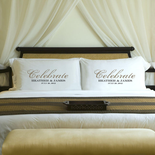 Personalized Celebration Couples Pillow Case Set - Sand - JDS