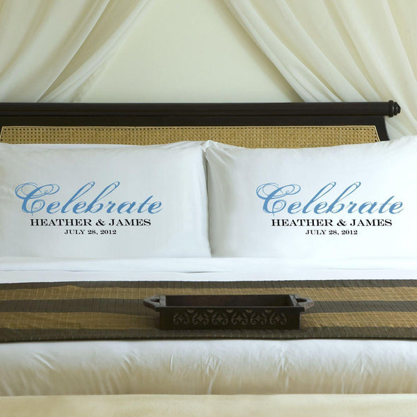 Personalized Celebration Couples Pillow Case Set - Blue - JDS