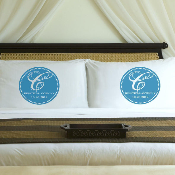 Personalized Magical Monogram Couples Pillow Case Set - Blue - JDS