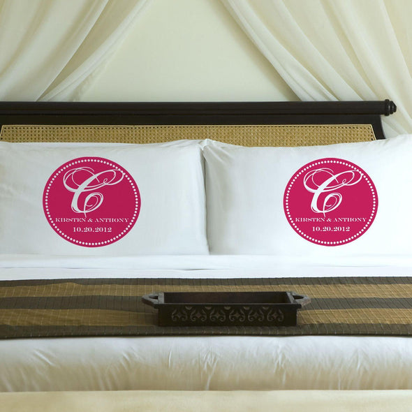 Personalized Magical Monogram Couples Pillow Case Set - Pink - JDS
