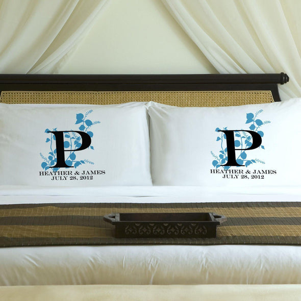 Personalized Nature's Bliss Couples Pillow Case Set - Blue - JDS