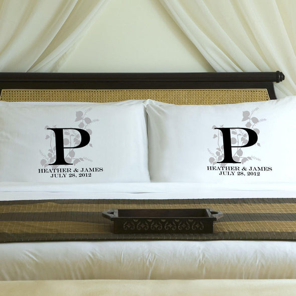 Personalized Nature's Bliss Couples Pillow Case Set - Gray - JDS