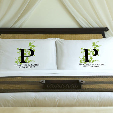 Personalized Nature's Bliss Couples Pillow Case Set - Green - JDS