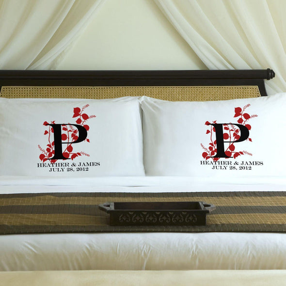 Personalized Nature's Bliss Couples Pillow Case Set - Red - JDS