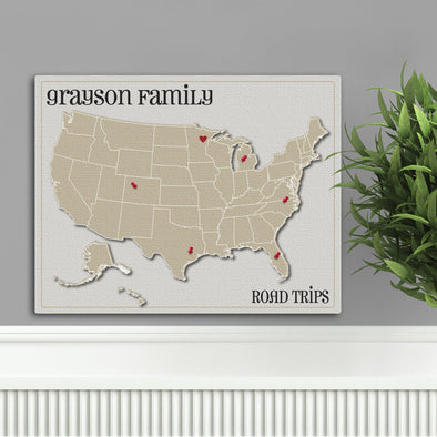 Personalized Family Travel Map Canvas Sign - Heart at Home -  - JDS